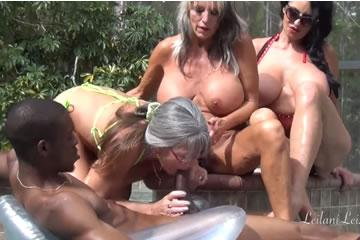 Three MILF share a huge black cock