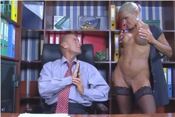 Busty russian MILF seduces in the office